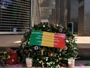 Flowers have been laid at the entrance the Radisson Blu hotel in Bamako on November 24, 2015, in tribute to the victims four days after the deadly terrorist attack that left 27 people killed. (HABIBOU KOUYATE/AFP/Getty Images).