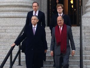 Assemblyman Sheldon Silver, lower left, with his attorneys today (Photo: Will Bredderman for Observer).