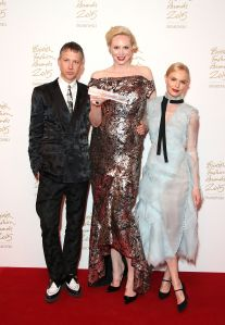 Jefferson Hack with Gwendoline Christie, winner of the British Style Award and presenter Kate Bosworth (Photo: Mike Marsland, British Fashion Council)
