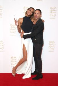 Jourdan Dunn, winner of Model of the Year with presenter Olivier Rousteing (Photo: Mike Marsland, British Fashion Council)(3)