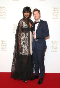 Presenter Naomi Campbell with Christopher Bailey MBE, winner of Creative Campaign for Burberry (Photo: Mike Marsland, British Fashion Council)