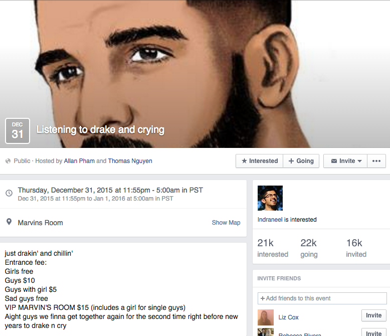 'Listening to Drake and Crying' and 11 Other Satirical 'Events' Taking Over Facebook