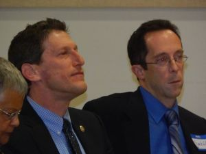 New Jersey State Assemblyman Andrew Zwicker, left, testified Thursday as three bills to offer student loan forgiveness advanced in committee.