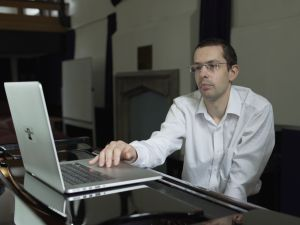 Dr. Nick Collins and Benjamin Till use Android Lloyd Webber to compose music. (Photo: Sky Arts TV)