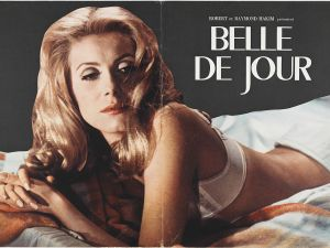 Press book for BELLE DE JOUR (1967. Dir. Luis Bunuel). Shown: cover. 12.5 x 38 inches, when open. Private collection. Photo by Genevieve Hanson. Courtesy of Museum of the Moving Image.