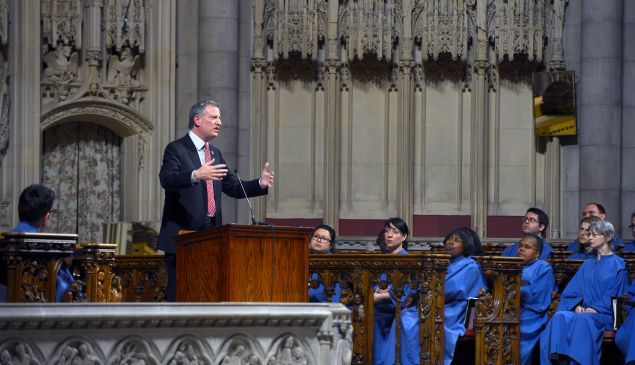 Mayor Bill de Blasio delivers remarks on his education vision for New York City at Riverside Church in Manhattan on Sunday, March 23, 2014. (Rob Bennett for the Office of Mayor Bill de Blasio)