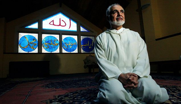 (Muslim Spiritual leader) Imam Feisal Abdul Rauf sits in a meditation room following the afternoon prayer at Masjid Al Farah in New York City. At 245 West Broadway it is the closest Mosque to the World Trade Center site. (Craig F. Walker/The Denver Post) (Photo By Craig F. Walker/The Denver Post via Getty Images)