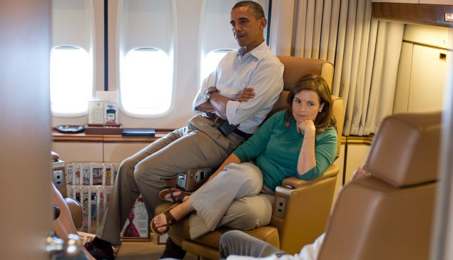 The couple are so under-the-radar that they don't have many pictures together, so Ms. Mastromonaco on Air Force One looking very pensive with President Obama will simply have to do. (The White House/Flickr)
