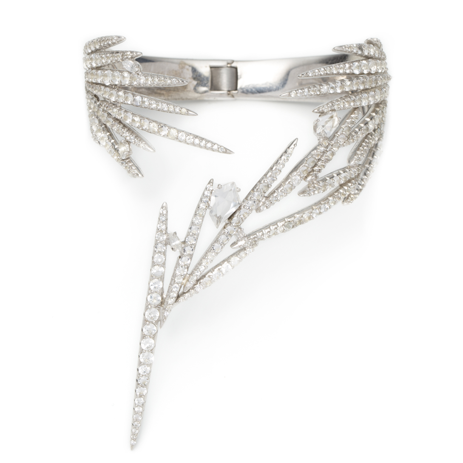 Alexis Bittar Waterfall spike hinge cuff in sterling silver, white sapphire pave and white topaz, $19,995, Available at all Alexis Bittar Boutiques Nationwide (Photo: Courtesy Alexis Bittar).