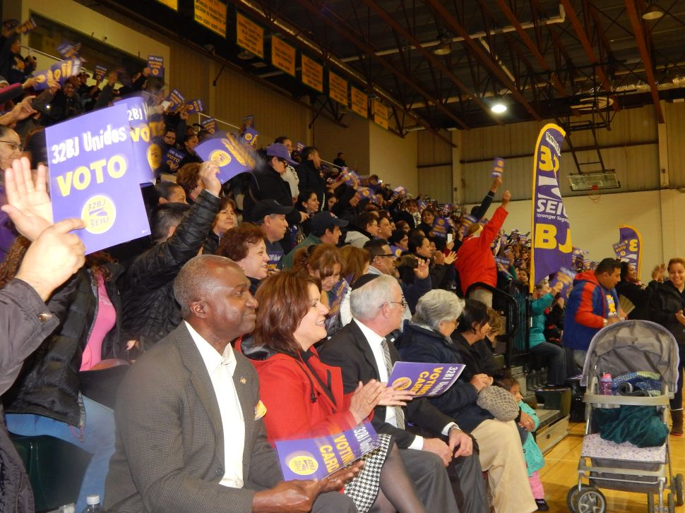 SEIU 32BJ  Raucous Rally Packs Essex Gym as Union Leader Brown Heads to Negotiations