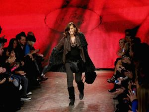 NEW YORK, NY - FEBRUARY 09: Designer Donna Karan walks the runway at the DKNY Women's fashion show during Mercedes-Benz Fashion Week Fall 2014 on February 9, 2014 in New York City. (Photo by Neilson Barnard/Getty Images for Mercedes-Benz Fashion )