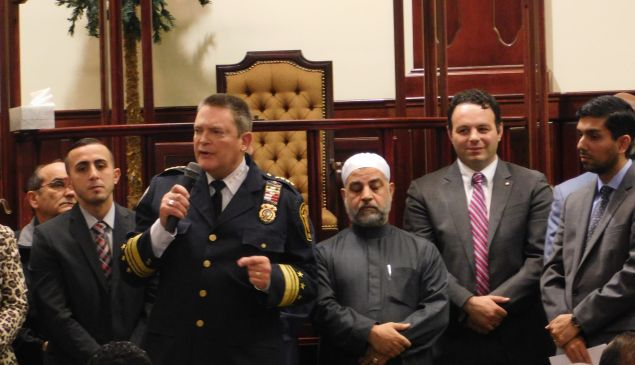 Elected officials went to a Paterson mosque to show support.