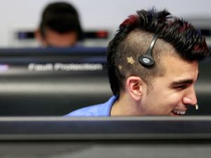 PASADENA, CA - AUGUST 5: Activity lead Bobak Ferdowsi, works inside the Spaceflight Operations Facility for NASA's Mars Science Laboratory Curiosity rover at Jet Propulsion Laboratory on August 5, 2012 in Pasadena, California. The MSL Rover named Curiosity is equipped with a nuclear-powered lab capable of vaporizing rocks and ingesting soil, measuring habitability, and whether Mars ever had an environment able to support small life forms called microbe. (Photo by Brian van der Brug-Pool/Getty Images)