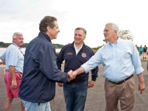 Gov. Andrew Cuomo, left, with Nassau County Executive Edward Mangano, center, and Oyster Bay Town Supervisor John Venditto (Photo:)