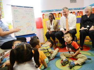 Launching universal pre-K will be a major part of Mr. de Blasio's legacy as mayor. (Photo by Susan Watts-Pool/Getty Images)