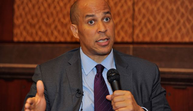 """WASHINGTON, DC - SEPTEMBER 30: U.S. Senator Cory Booker (D-NJ) discusses juvenile justice and Fusion's forthcoming documentary """"Prison Kids"""" at the Capitol Visitor's Center on September 30, 2015 in Washington, DC. (Photo by Larry French/Getty Images for Fusion)"""