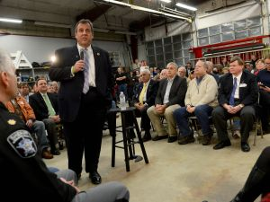 LOUDON, NH - NOVEMBER 30: Republican Presidential candidate Chris Christie speaks during a town hall meeting at the Louden Fire Department November 30, 2015 in Loudon, New Hampshire. Christie recently received the endorsement of the Manchester Union Leader, New Hampshires largest newspaper. (Photo by Darren McCollester/Getty Images)