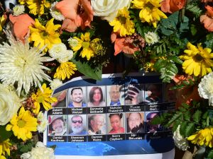 A makeshift shrine to honor victims of the terrorist attack in San Bernardino, California. FREDERIC J. BROWN/AFP/Getty Images).