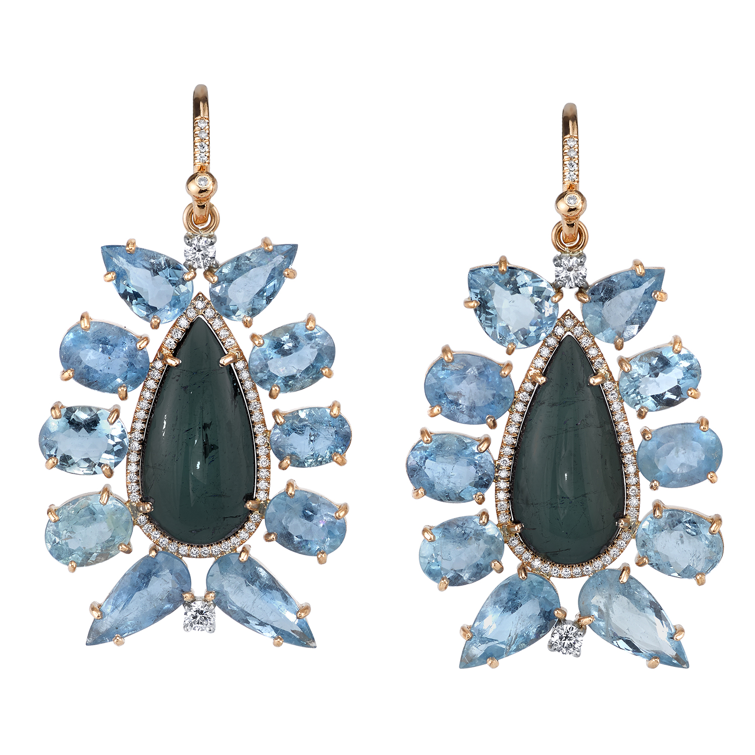Irene Neuwirth One of a Kind Earrings with Full Cut Diamonds, Fine Aquamarine, Indicolite Tourmaline, and Diamond Pave, price upon request, Marissa Collections, 1167 3rd St S, Naples, FL 34102 (239) 263-4333 (Photo: Courtesy Irene Neuwirth).