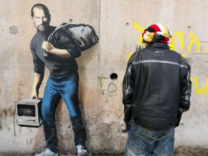 A mural by Banksy in Calais, France. (Photo: courtesy the artist's website, banksy.co.uk)