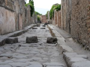 The ancient city of Pompeii.