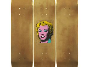 Warhol Skateboard Triptych Gold Marilyn Monroe, 2015. (Courtesy of The Skateroom and ©/®/TM The Andy Warhol Foundation for the Visual Arts, Inc.)