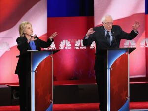 Hillary Clinton and Sen. Bernie Sanders. (Photo: Andrew Burton for Getty Images)