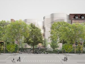 A rendering of the proposed exterior for the Museum's Richard Gilder Center expansion. (Courtesy of Studio Gang Architects)