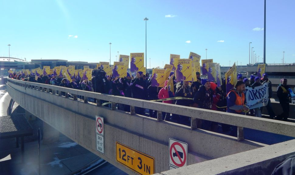 WATCH: In Search of Just Wages, Airport Workers March Under King Banners on MLK Day