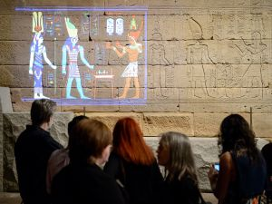 Experimental lighting display Color the Temple, Scene 1, on view Friday and Saturday evenings (5 to 9 p.m.) through March 19, at The Temple of Dendur in The Sackler Wing at The Metropolitan Museum of Art, New York. Image: The Metropolitan Museum of Art/Filip Wolak