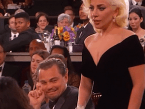Leonardo DiCaprio can fight a bear, but apparently Lady Gaga is too much for him. (Photo: Twitter)