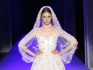 PARIS, FRANCE - JANUARY 29: A model wears the bridal gown closing the Ralph & Russo show as part of Paris Fashion Week Haute Couture Spring/Summer 2015 on January 29, 2015 in Paris, France. (Photo by Richard Bord/Getty Images for Ralph&Russo)