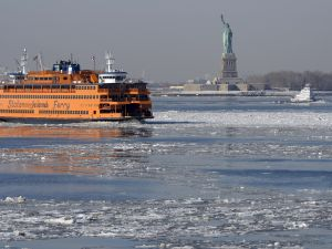A view of the Statue of Liberty is seen as the Staten Island Ferry passes by on February 25, 2015 (Photo: TIMOTHY A. CLARY/AFP/Getty Images)