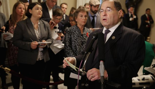 WASHINGTON, DC - DECEMBER 01: Rep. Jerrold Nadler (D-NY) talks to reporters during a news conference in the U.S. Capitol December 1, 2015 in Washington, DC. Nadler and fellow Democrats were critical of the House Republicans' formation of the House Energy and Commerce Committee's new Select Investigative Panel on Planned Parenthood and abortion, which the Democrats have dubbed the 'Select Committee to Attack Women's Health.' (Photo by Chip Somodevilla/Getty Images)