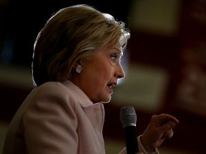 "DES MOINES, IA - JANUARY 29: Democratic presidential candidate Hillary Clinton speaks during a ""get out the caucus"" event at Grand View University on January 29, 2016 in Des Moines, Iowa. With less than a week to go before the Iowa caucuses, Hillary Clinton is campaigning throughout Iowa. (Photo by Justin Sullivan/Getty Images)"