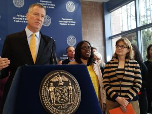 Mayor Bill de Blasio discusses supportive housing in Brooklyn. (Photo by Jillian Jorgensen for Observer)