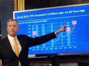 Mayor Bill de Blasio at his budget presentation in January.