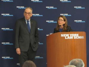 Professor Ross Sandler, Founding Director of the Center for New York City Law at New York Law School, Success Academy founder Eva Moskowitz. (Photo: Danielle Librandi for New York Law School)