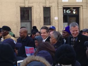 Gov. Andrew Cuomo, Rev. Al Sharpton and Mayor Bill de Blasio (Photo: Will Bredderman for Observer).