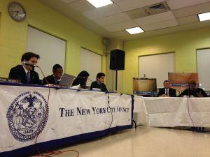 NYCHA Chairwoman Shola Olatoye, far right, speaks to Councilman Benjamin Kallos, far left, and Councilman Ritchie Torres (Photo: Will Bredderman for Observer).
