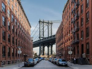 The DUMBO neighborhood of Brooklyn, see from under the Manhattan Bridge.