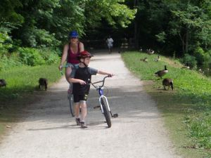 This photo of the author's family on the canal path shows how cyclists, walkers and wildlife will all be disturbed by the noise generated by the rumble strips.