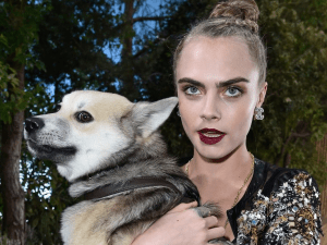 Cara Delevingne and her pup Leo (Photo: Twitter/@TeenVogue).
