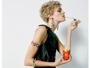 Leela Goldkuhl with french fries, shot by Felix Cooper (Photo: Courtesy CR Fashion Book).