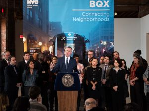 Mayor Bill de Blasio at a press conference about the Brooklyn Queens Connector today.