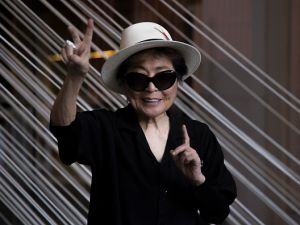 "Artist Yoko Ono poses for pictures during the opening of ""Yoko Ono: Land of Hope"" at the Museo Memoria y Tolerance in February in Mexico City."