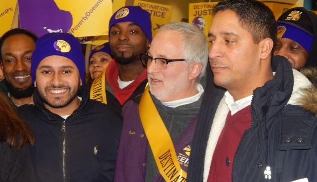 Bobadilla, right, with SEIU 32BJ's Kevin Brown (center) and Assemblyman Raj Mukherji (D-33).
