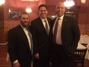 Rabbi Shmuley Boteach, Israeli Ambassador to the U.S. Ron Dermer and Senator Cory Booker out to eat at the famed Eli's kosher restaurant in Northwest DC in 2013.