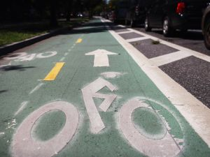 A controversial bike lane on Prospect Park West on August 17, 2011 in the Brooklyn borough of New York City.