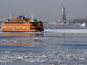 A view of the Statue of Liberty is seen as the Staten Island Ferry.